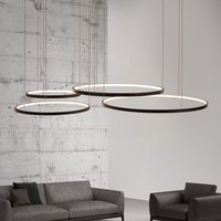 modern led chandelier circle lights for Interior design engineering lighting Line hang LED ring chandelier lamp