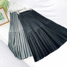 Wasteheart Autumn Khaki Black Polyester Women Skirt High Waist A-Line Long Mid-Calf Skirts Sexy Casual Pleated