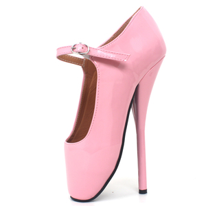 """Image 5 - Brand New 8"""" Sexy Ballet High Heels Shoes High Spike Heel Fetish Sexy Ballet Dancer Pointe Toe Ankle straps Pumps plus size"""