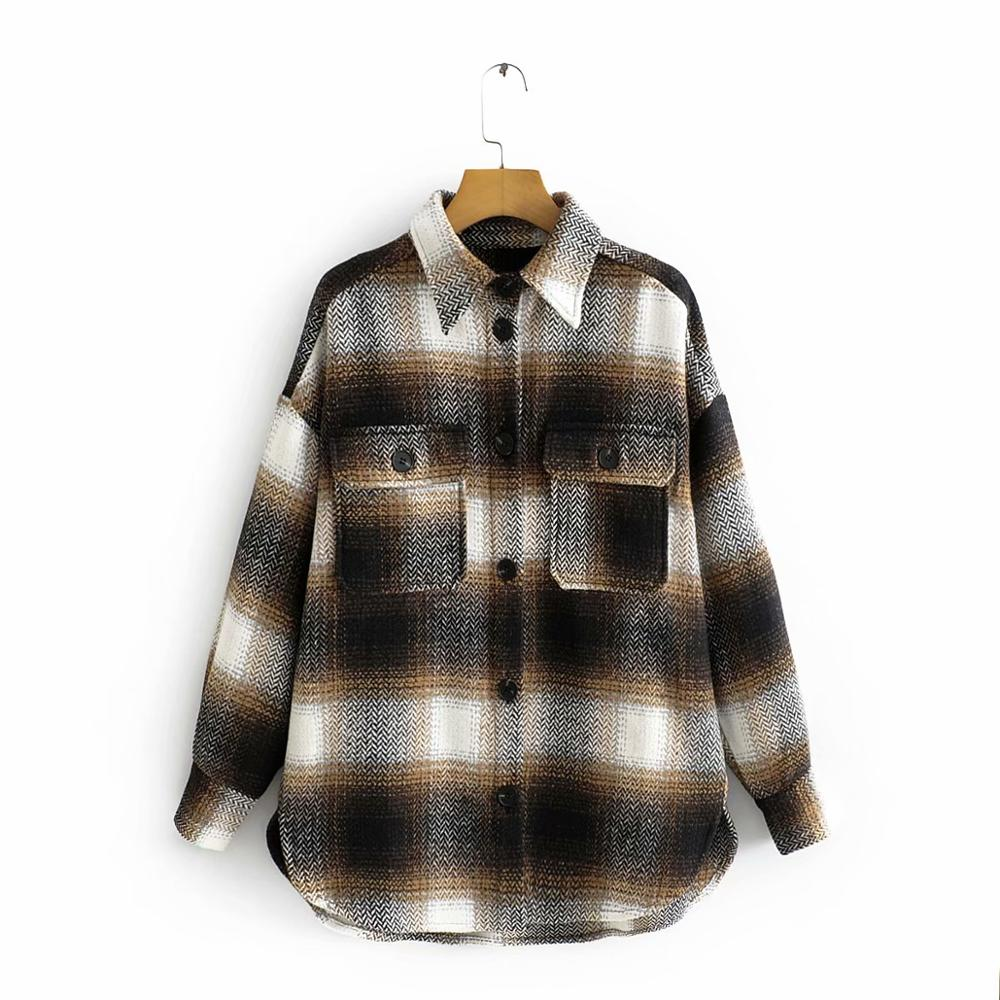 Vintage Chic Contrast Colors Patchwork Plaid Jacket Stylish Women Pockets Turn-Down Collar Coat Casual Girls Streetwear