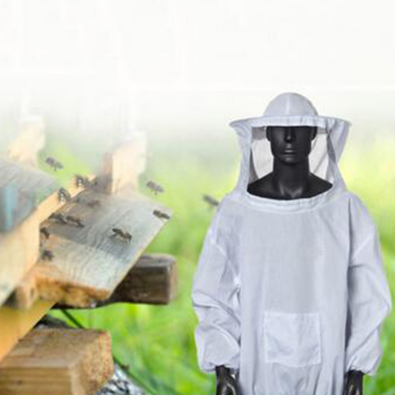 1pc Anti Bee Suits 2XL Household Working Bee Keeper White Hoods Jacket Beekeeping Costumes Protections