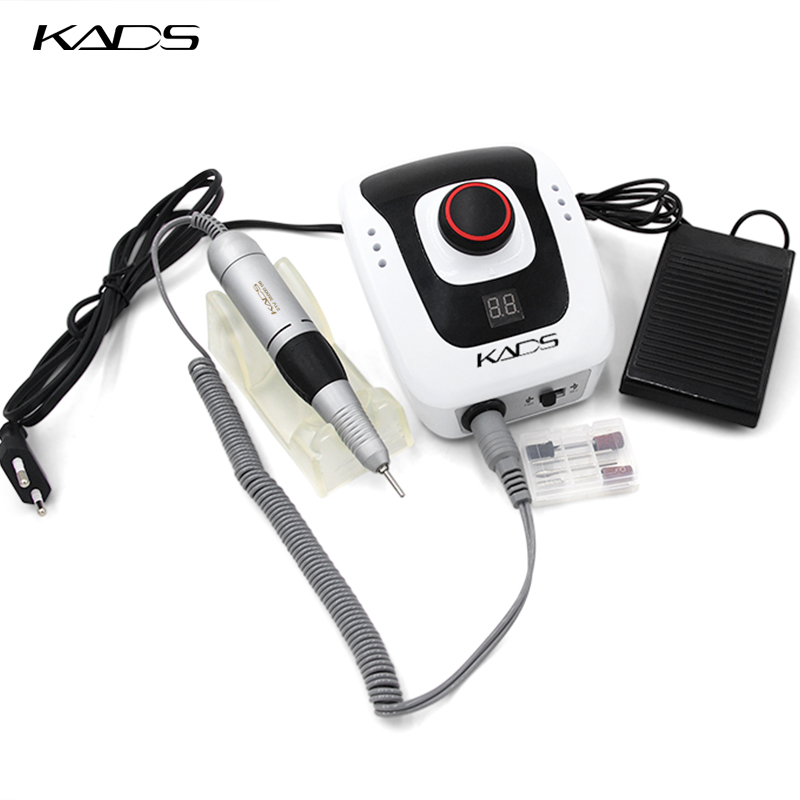 KADS 40W 35000RPM Electric Manicure Nail Art Drill Pen Machine Set For Nail Pedicure Equipment Electric Fingernail Files Tools