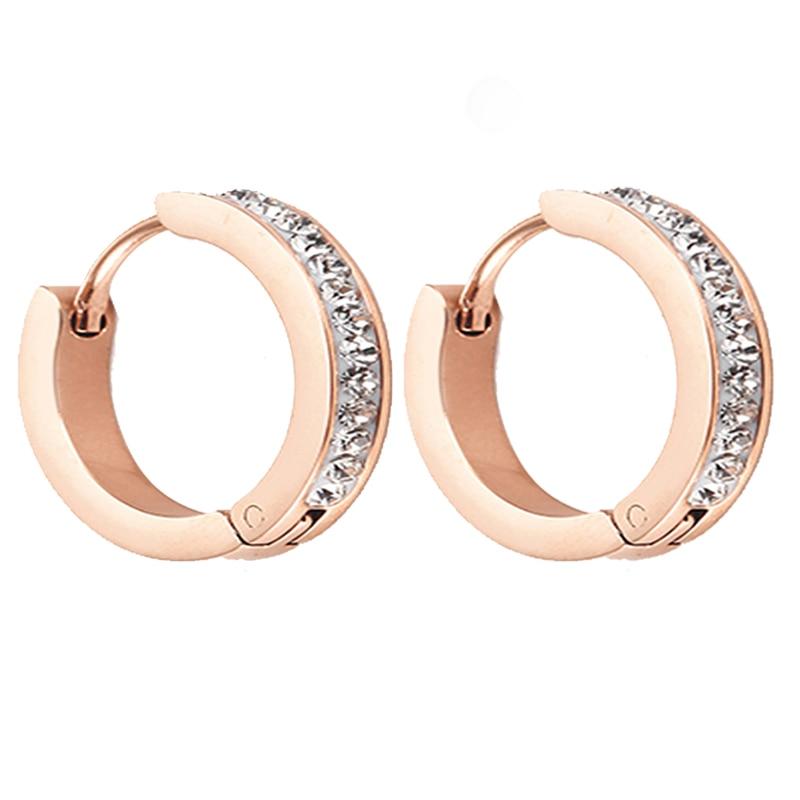 Женские круглые серьги-кольца OUFEI, серьги из нержавеющей стали цвета розового золота с кристаллами, корейские ювелирные изделия