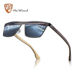 Hu Wood Sunglasses Men Polarized Sun Glasses Woman Wooden Glasses Vintage Style Stainless Steel Frame Oculos de sol masculino
