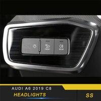 Для Audi A6 C8 2019 автомобильный Стайлинг передний свет лампы фары кнопочный переключатель крышка Накладка рамка наклейка аксессуары для интерь...