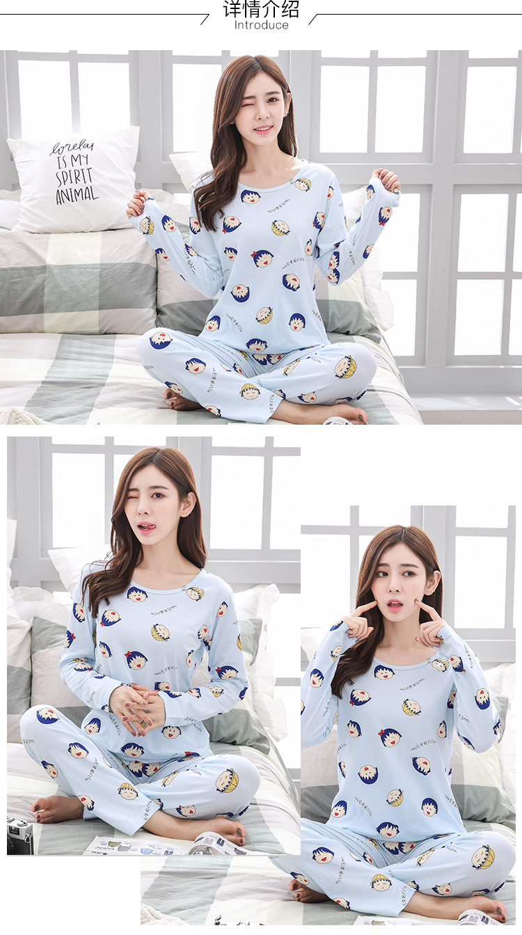 Spring And Autumn Pajamas Women Long Sleeve Sweet Cute Cartoon Small Balls Loose-Fit Plus-sized Home Wear Two-Piece Set