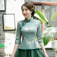 Green Women's Suede Shirt Tops Chinese style Lady Autumn Winter Mandarin Collar Blouse Handmade Button Qipao Mujer Camisa M 4XL