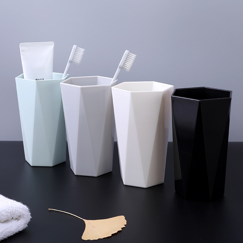 Diamond Shape Water Cups Toothbrush Holder Washing Home Bathroom Tooth Brush Storage Organizer Washing Cup