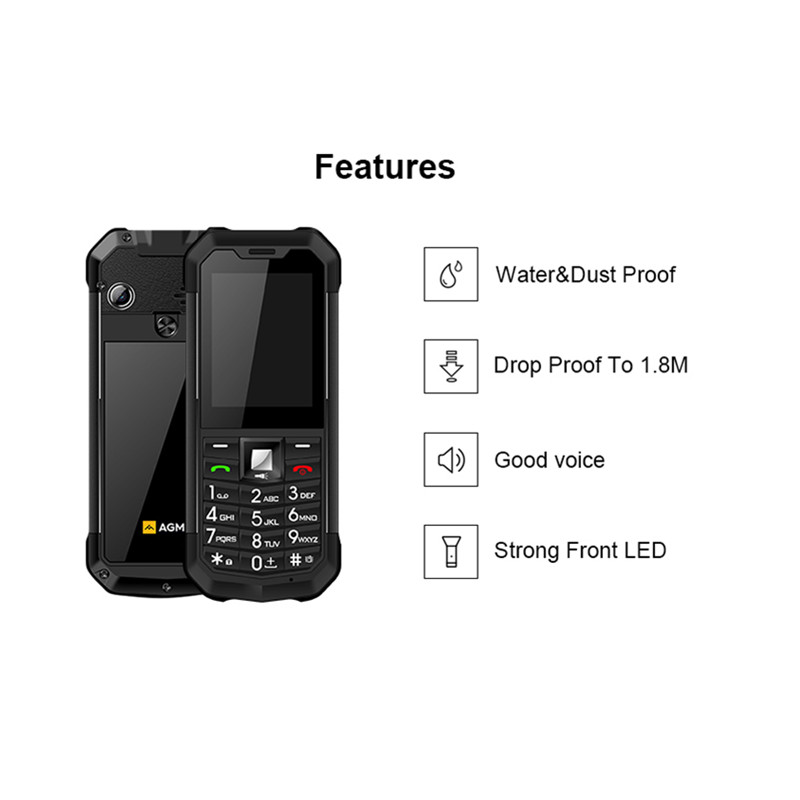 Image 2 - AGM M3 Rugged Dual SIM Outdoor 2.4 Phone IP68 Waterproof  Shockproof Dustproof Torch 1970mAh Flashlight Cell PhoneCellphones   -