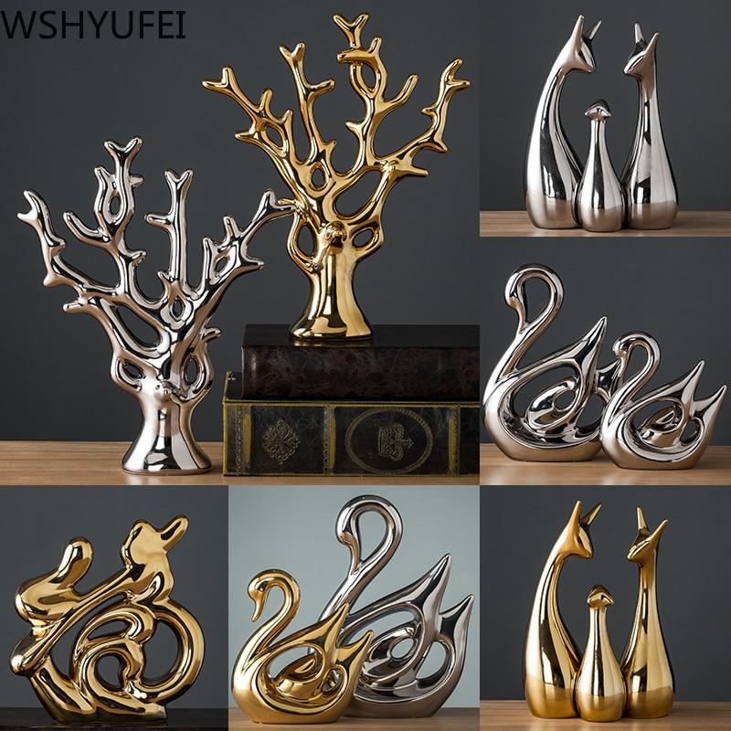 Modern Ceramic Animal Figurine Decorative Statue Deer Porcelain Figurine Home Desktop Decor Christmas Birthday Wedding Gift|Figurines & Miniatures|   - AliExpress