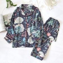 2 정장 잠옷 가을 클래식 까치 인쇄 새틴 잠옷 긴 소매 Loungewear 여성 턴 다운 칼라 얇은 홈 의류