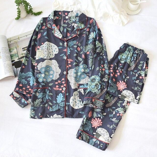 2 الدعاوى ملابس خاصة الخريف الكلاسيكية العقدة الطباعة بيجامة من الساتان طويلة الأكمام المتسكعون النساء بدوره إلى أسفل طوق رقيقة المنزل الملابس