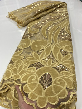 Gold Nigerian Velvet Lace Fabrics 2020 High Quality Lace African French Sequins Lace Fabric For Wedding Dress Sewing YA2668B-5 4meters 4cm eco friendly sequins lace trims 3d gold silver lace ribbons for stage dance dress belt sewing accessories