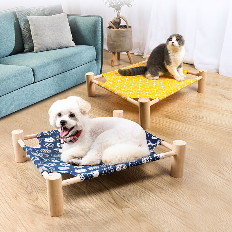 Simple Wooden Canvas Cat Bed Elevated Cat Hammocks Bed Wood Cat Lounge Bed For Small Dogs Cats Pet Accessories Cat Beds Mats Aliexpress