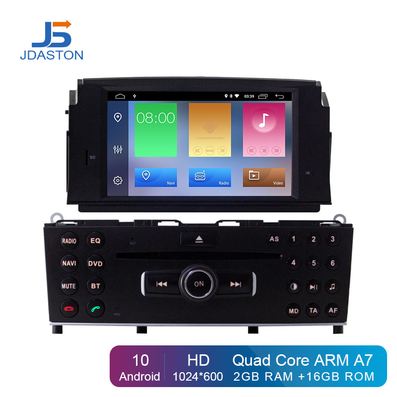 JDASTON Android 10 In Dash 2Din Car DVD Player For Mercedes Benz <font><b>C200</b></font> C180 W204 2007-<font><b>2010</b></font> Car GPS Radio Audio Multimedia Stereo image