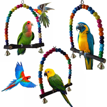 Natural Wooden Parrots Swing Toy Colorful Lovebird Parrot Bird Cage Toys Supplie D40