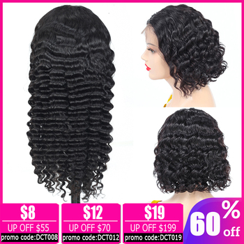 LEVITA pixie cut wig 13x4 lace front wig deep curly wave wig Brazilian short bob lace front Human Hair Wigs for women non-remy 13x4 lace front wig pixie cut water wave wig short bob lace front wig brazilian lace front human hair wigs for women non remy