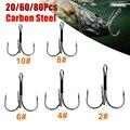 Angeln Haken 20/60/80 stücke 2/4/6/8/10# High Carbon Stahl Drillinge Fishing Tackle-Tool Runde Biegen Fisch Haken für Bass Karpfen