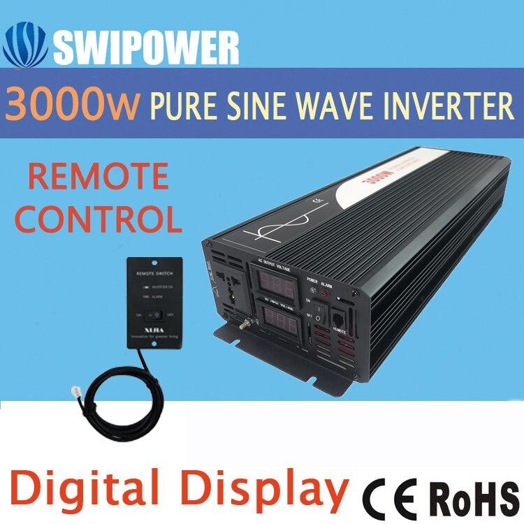 Onduleur à onde sinusoïdale pure 3000W nouveau onduleur solaire de voiture cc 12V 24V 48V à 110V 220V