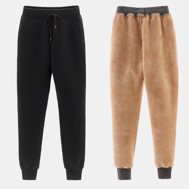 Women Trousers Thicker Lamb Cashmere Sports Pants Winter Thick Velvet Pants Leisure Harem Long Pants Female Warm Pencil Pants