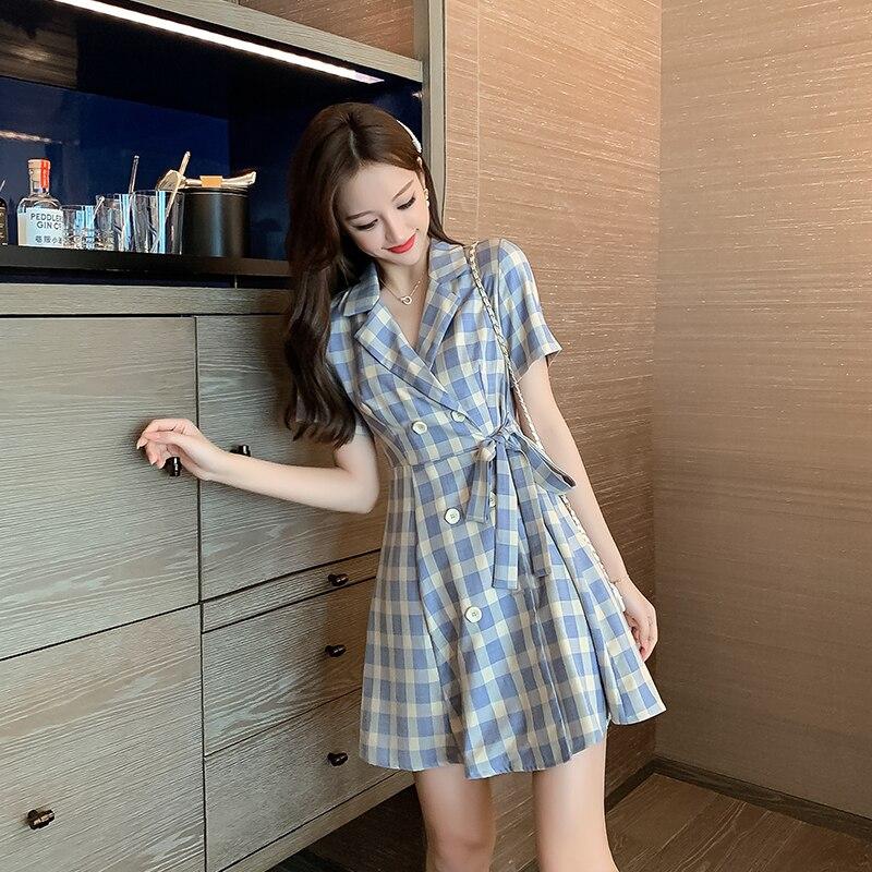 Summer New Fashion Checked Dress Skirt Short-sleeved Dress Female