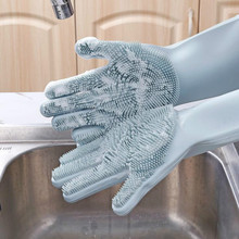 1 Pair Dish Washing Gloves Magic Silicone Dishes Cleaning Gloves With Cleaning Brush Kitchen Wash Housekeeping Scrubbing Gloves magic silicone cleaning gloves for washing dishes dusting dish washing gloves cleaning tableware washing up kitchen gloves