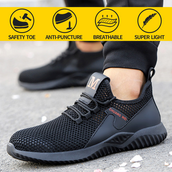 Work Safety Shoes For Men Summer Breathable Boots Steel Toe Air Working Anti-Smashing Puncture-Proof Construction Sneakers Women suadeex work safety shoes breathable mesh construction men steel toe sneakers anti smashing puncture proof security boots 36 48