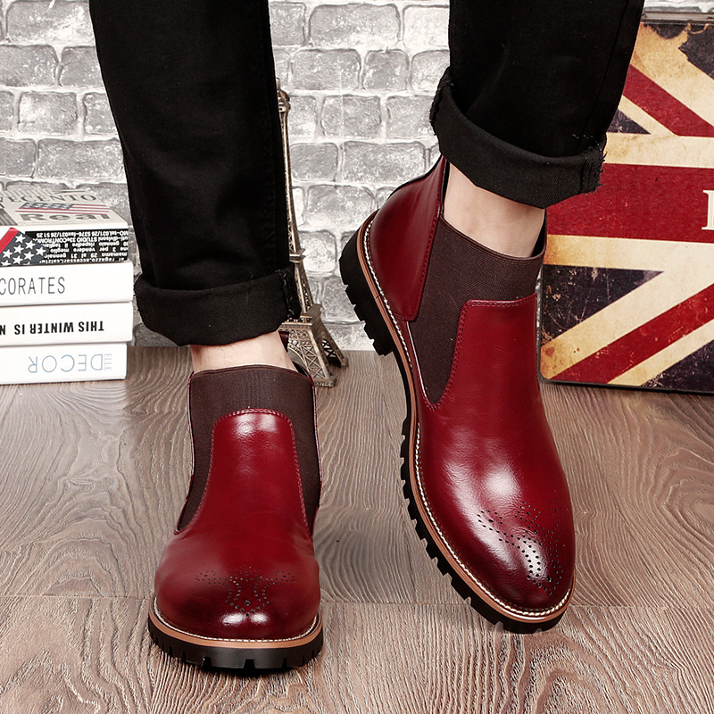 Men Chelsea Boots Slip-on Waterproof Ankle Boots Men Brogue Fashion Boots Microfiber Leather Shoes Big Size 2019