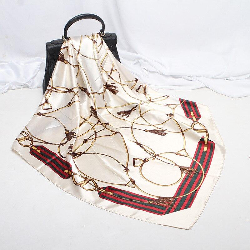 ~DiscountScarf Shawl Bandana Foulard Satin Square Silk Hair/Head Big-Size Fashion Women 90--90cm