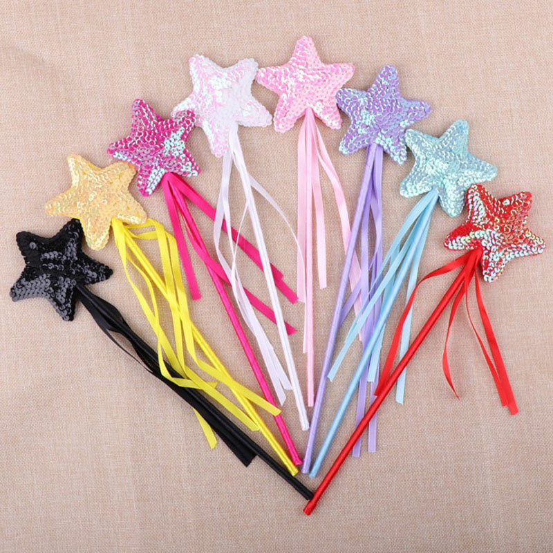 1 Pcs Hot Sale Halloween Day Cute Five Pointed Star Fairy Wand Magic Stick Girl Party Princess Favors Lovely Party Decor