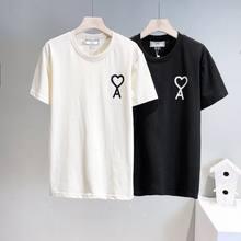Camiseta ami ver?o 100% algod?o solto em torno do pesco?o camiseta casual de manga curta em forma de cora??o bordado 2021 novo