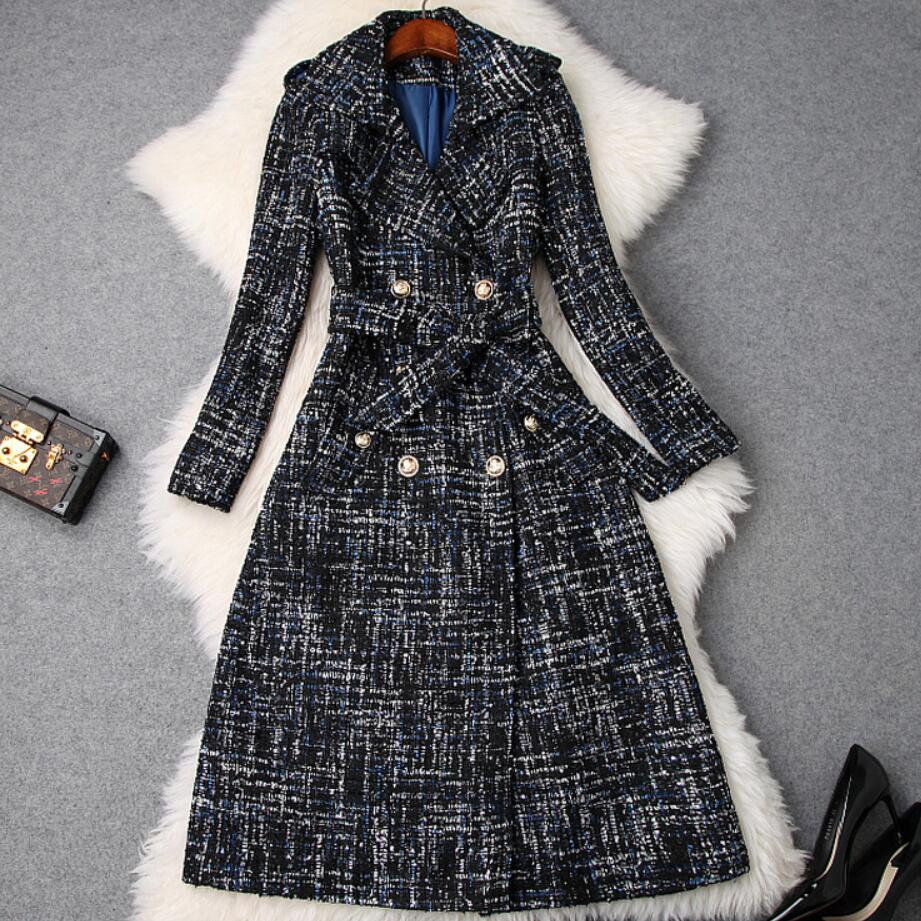 plus size 5XL! Winter Tweed Woolen Jackets and Coats Fashion Double breasted Vintage Plaid Long Wool Blend Coat
