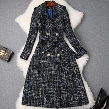 plus size 5XL! Winter Tweed Woolen Jackets and Coats Fashion Double breasted Vintage Plaid Long