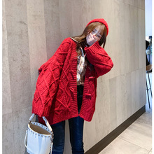Women cardigan 2019 spring and autumn new fashion women sweater coat loose Joker lazy wind thickened