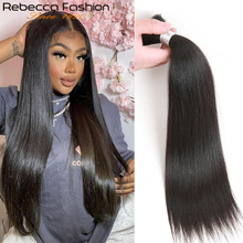 Human-Hair Hair-Extensions Rebecca Braiding Bulk Brazilian Straight for 1/3/4-bundles