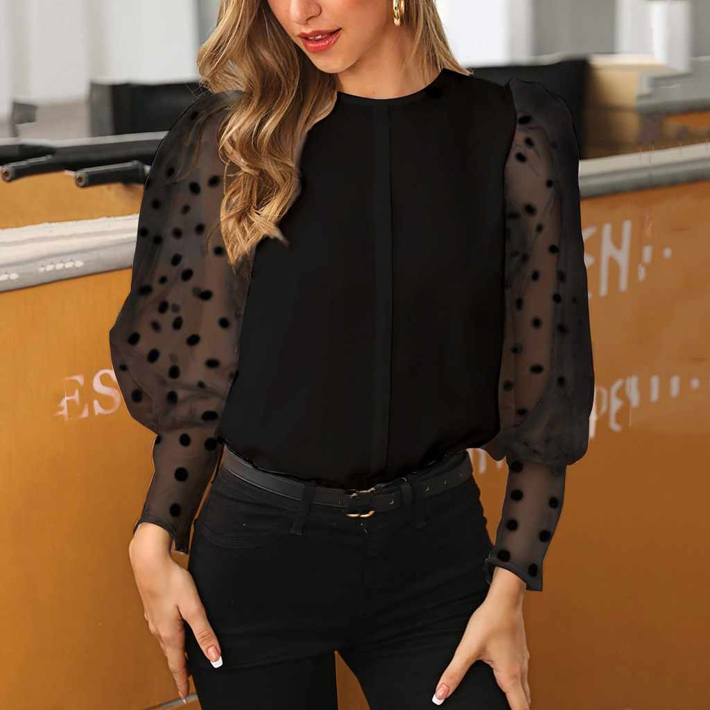 แฟชั่น Dot โคมไฟมุมมองเสื้อยืดฤดูใบไม้ร่วงสุภาพสตรีเสื้อผู้หญิงยาวแขนเสื้อ Blusas เสื้อ