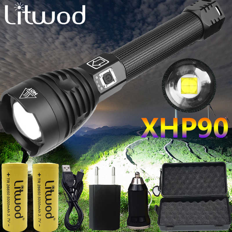 XHP90.2 COB LED Flashlight Most Powerful USB Rechargeable 26650 18650 Torch Lamp
