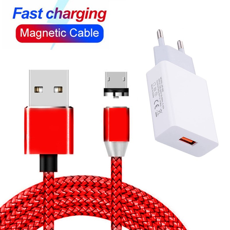 Magnetic Type C Micro USB Cable For iPhone 5 Samsung galaxy S6 S7 Edge note 10 plus LG G6 G7 Quick Charging Wall Phone Charger(China)