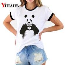 Women 3D Print T Shirts Harajuku Love Heart Panda Animal T-shirt Summer White Casual Couple Short Sleeve Tops Clothes