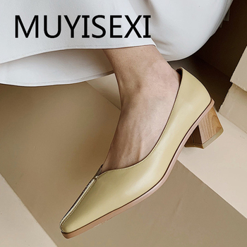 Mixed colors 3.5cm high heels women pumps new genuine leather office lady fashion pointed toe slip on solid THN07 MUYISEXI