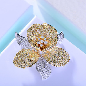 Image 4 - Luxury AAA Zircon Rhinestone Flower Brooch Christmas Pin Vintage Crystal Orchid Pins and Brooches for Women Accessories Jewelry