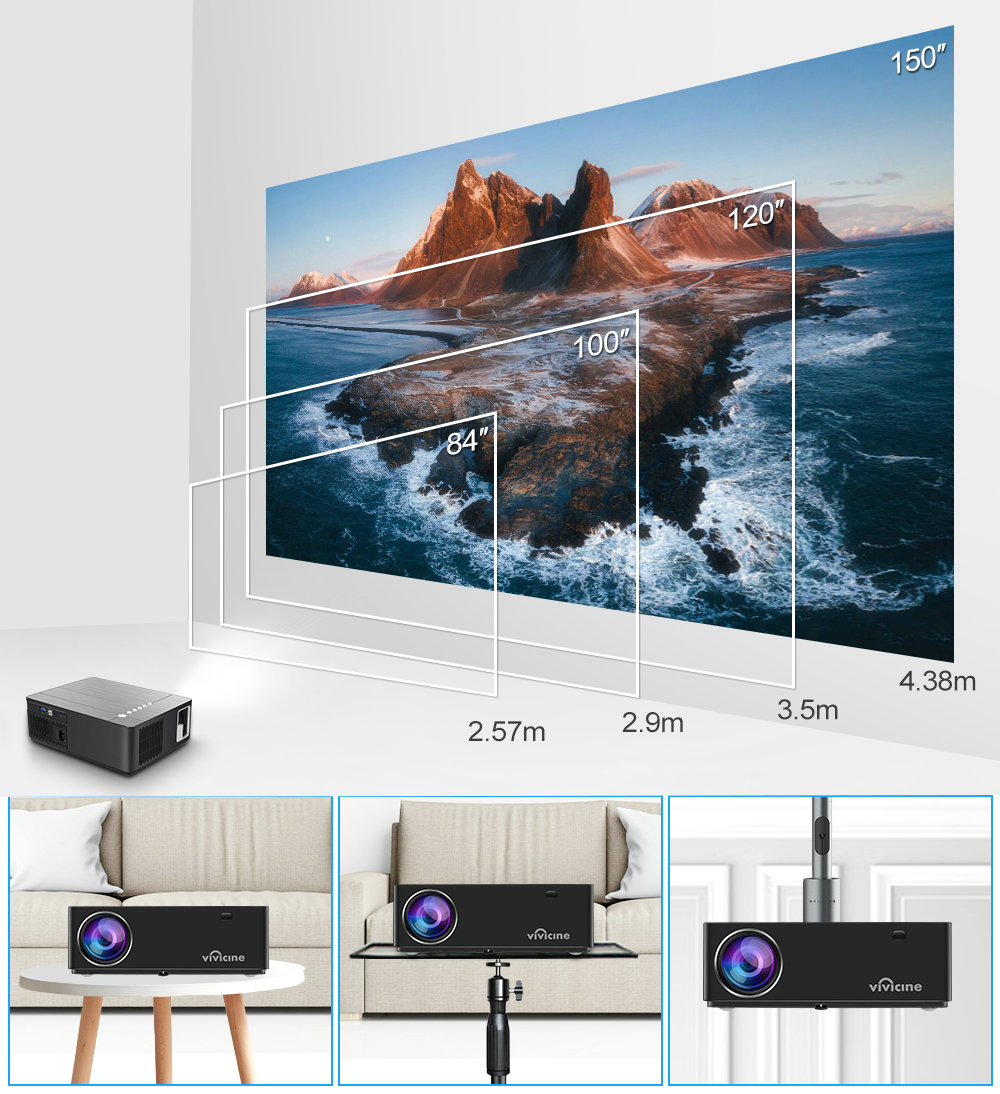 Vivicine M20 Newest 1080p Projector,Option Android 10.0 1920x1080 Full HD LED Home Theater Video Proyector Beamer Support AC3 3