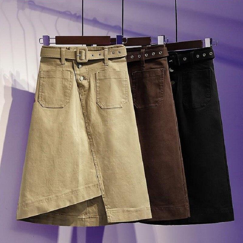 Summer Women Clothing  Cotton Twill Fabric Washed Skirts Split Skirts Knee Length High Waist Women Skirts Sashes Free