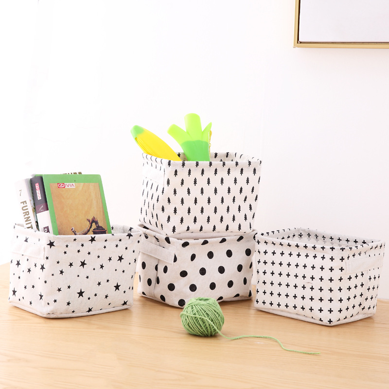 1PCS Desktop Storage Basket Printed Waterproof Storage Bag Sundries Cosmetics Book Cotton Linen Storage Box Laundry Basket