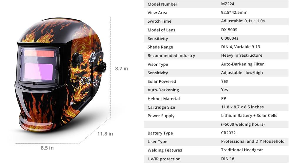 DEKO Auto Darkening Adjustable Range MIG MMA Electric Welding Mask Helmet Welding Lens