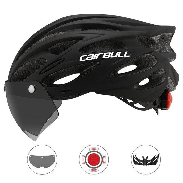 Cairbull ultraleve ciclismo capacete com viseira removível óculos de proteção da bicicleta lanterna traseira intergrally-moldado mountain road mtb capacetes 230g 1