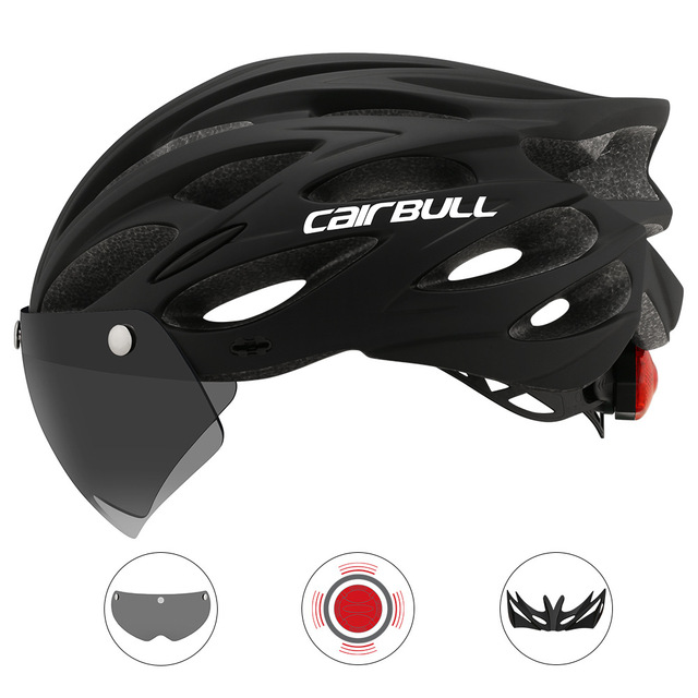 Cairbull Ultralight Cycling Helmet With Removable Visor Goggles Bike Taillight Intergrally molded Mountain Road MTB Helmets 230g