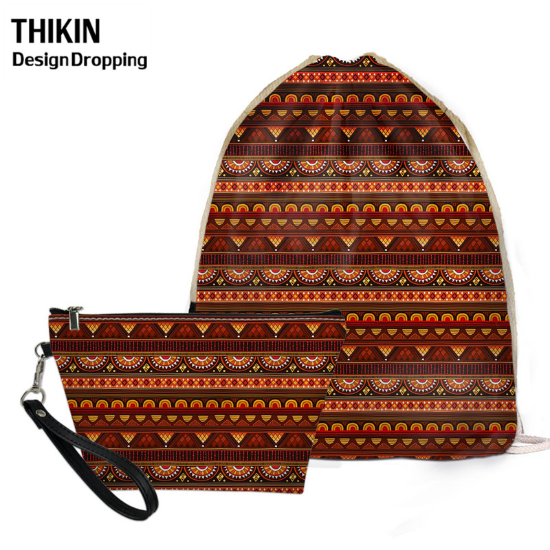 THIKIN Fashion Women Sloth Drawstring Backpack 2pcs Traditional African Print Travel Draw String Bags For Ladies Portable Pouch