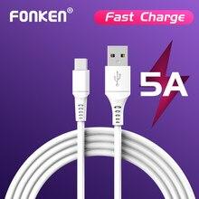 FONKEN USB kablosu tip C 5A süper hızlı şarj şarj kablosu 1m 2m 0.2m kısa kablo Mini telefon şarj kablosu USB C için Xiaomi