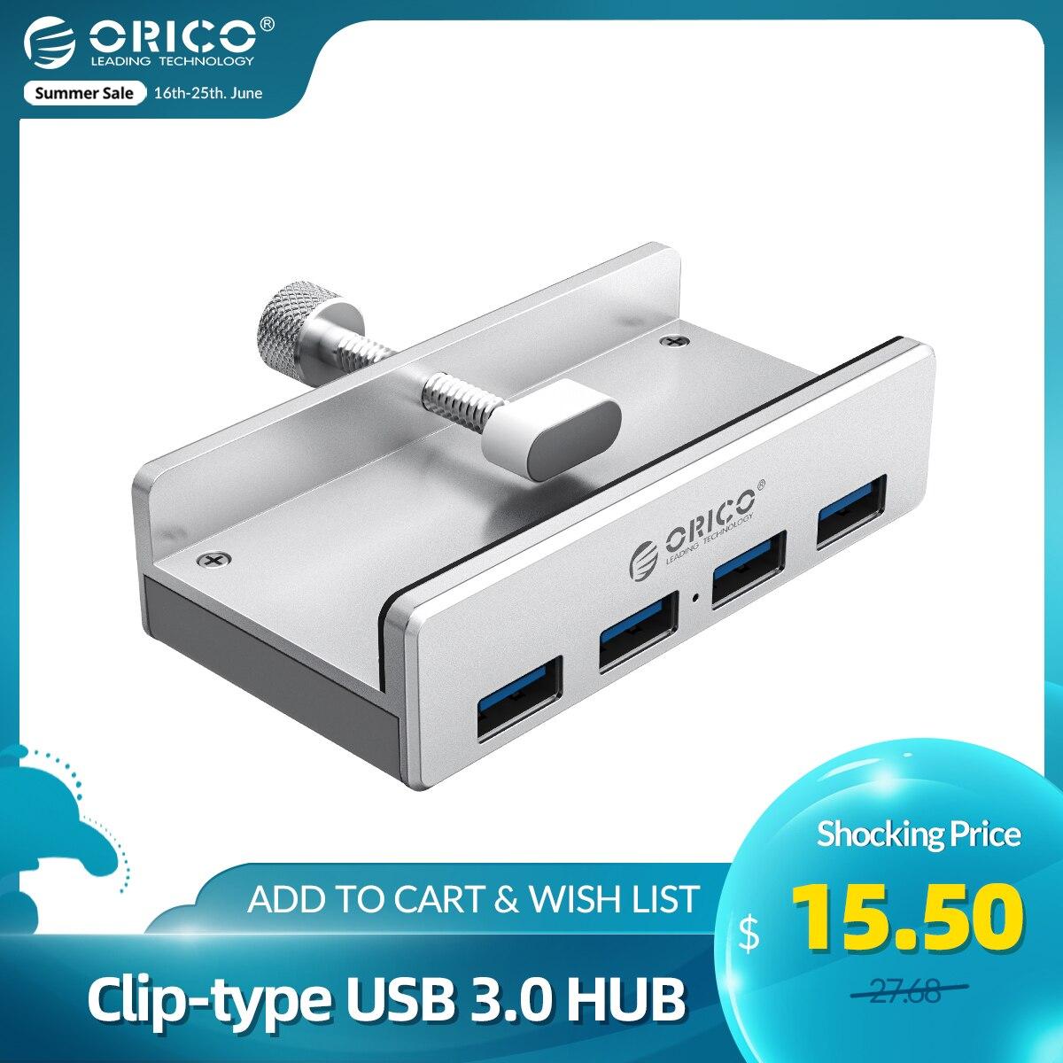 ORICO Clip-type USB 3.0 HUB Aluminum External Multi 4 Ports USB Splitter Adapter for Desktop Laptop Computer Accessories(MH4PU)